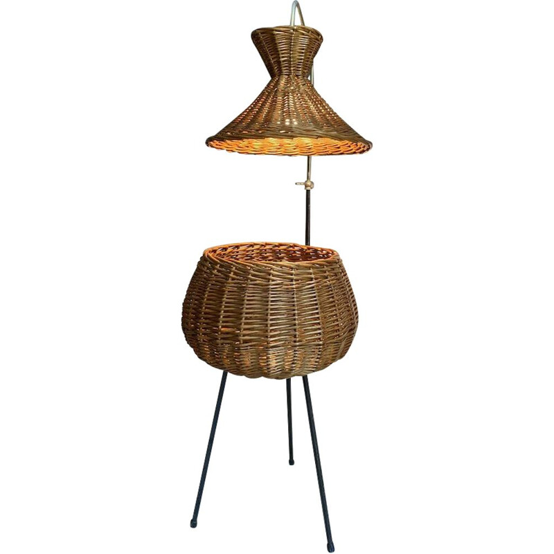 Vintage rattan floor lamp in the shape of a worker, 1950