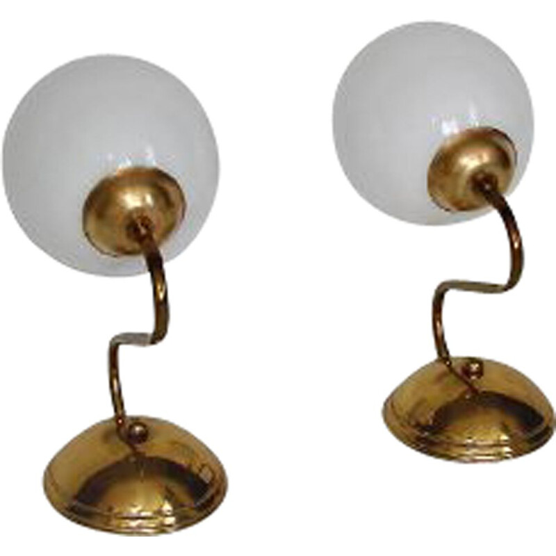 Pair of vintage brass and glass wall lamps, 1960s