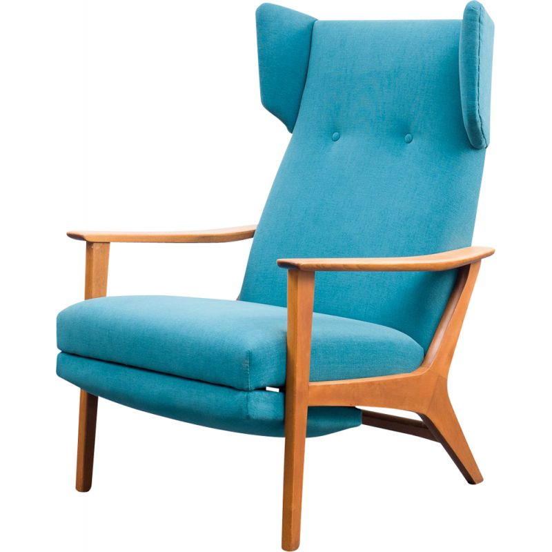 Vintage wing armchair with folding legs, 1960s