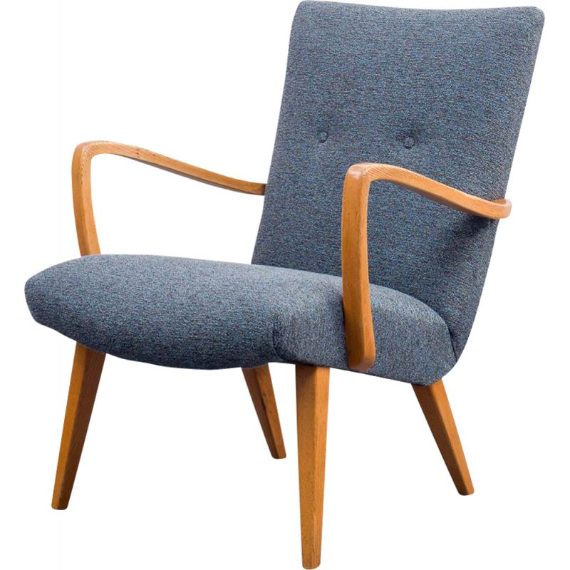 Vintage beechwood grey armchair with tapered legs, 1950s