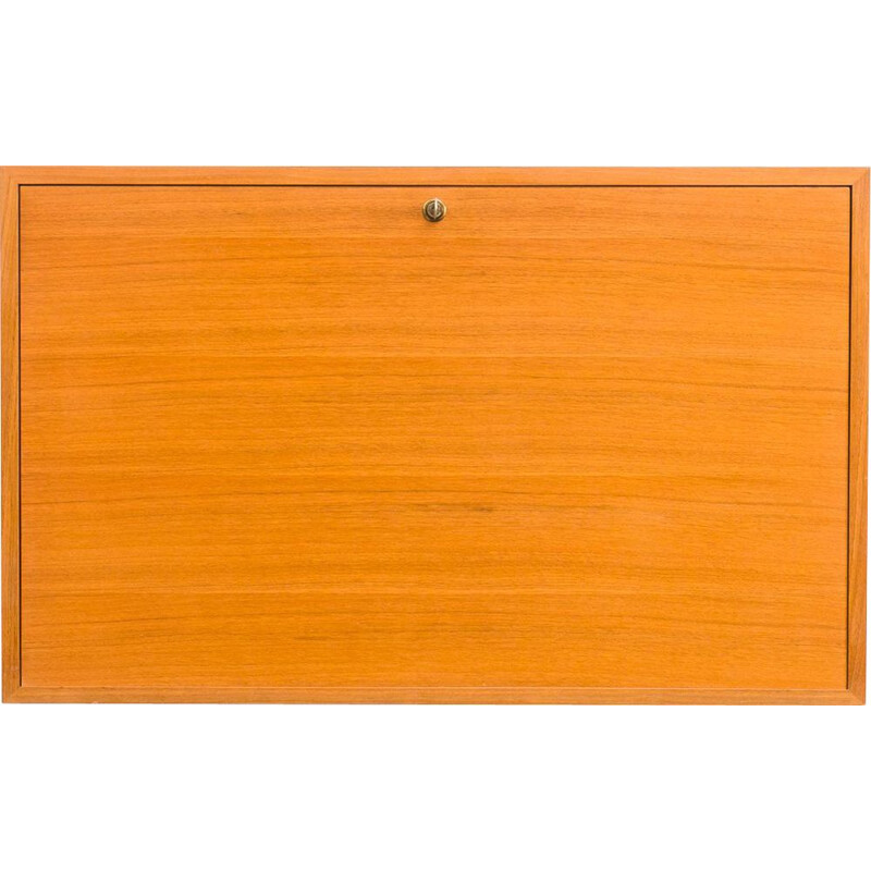 Walnut vintage wall cabinet with interior lighting, 1960s