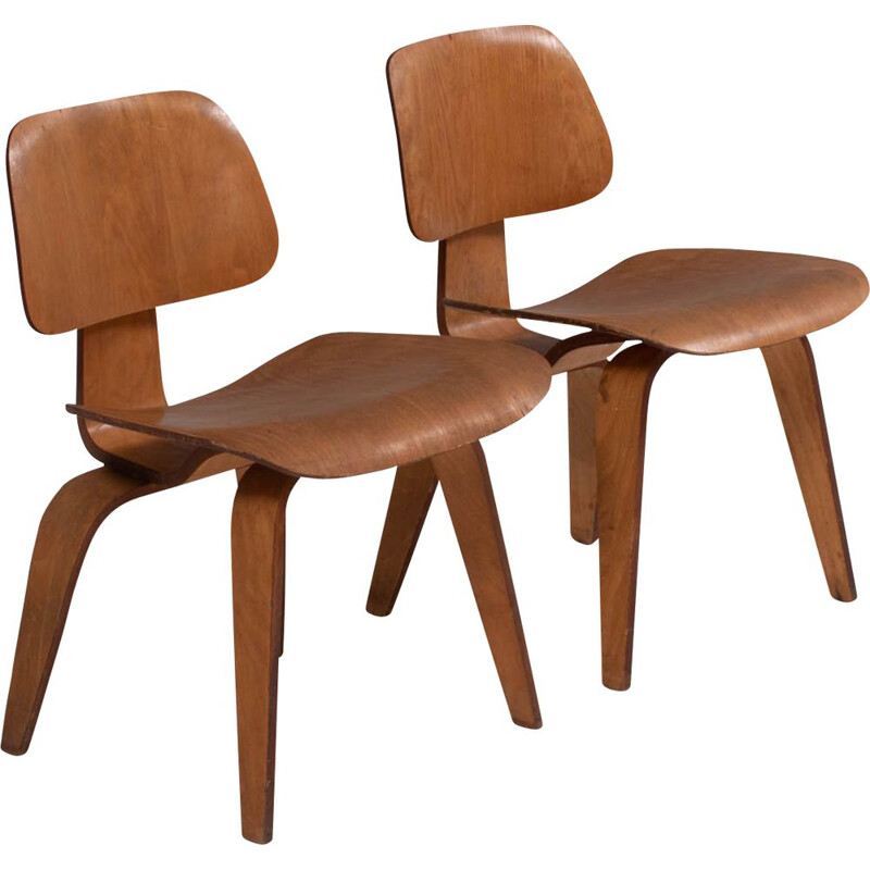 Pair of vintage DCW dining chairs by Charles & Ray Eames, 1950s