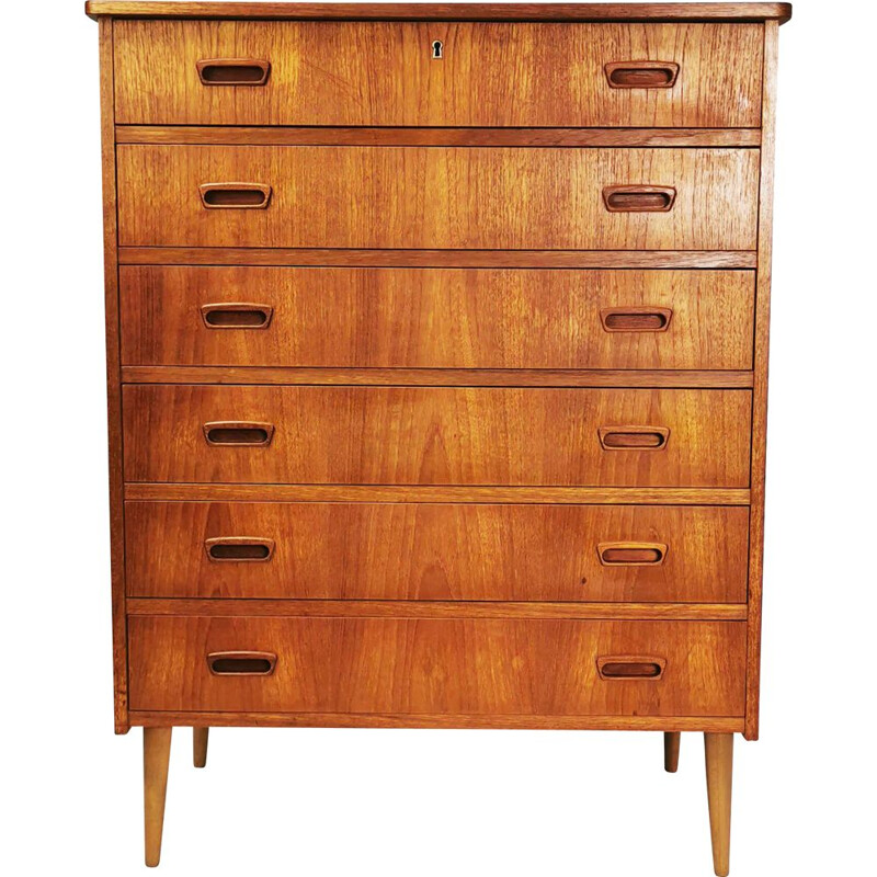 Teak mid century chest of drawers with 6 pull-out drawers, Denmark 1960s