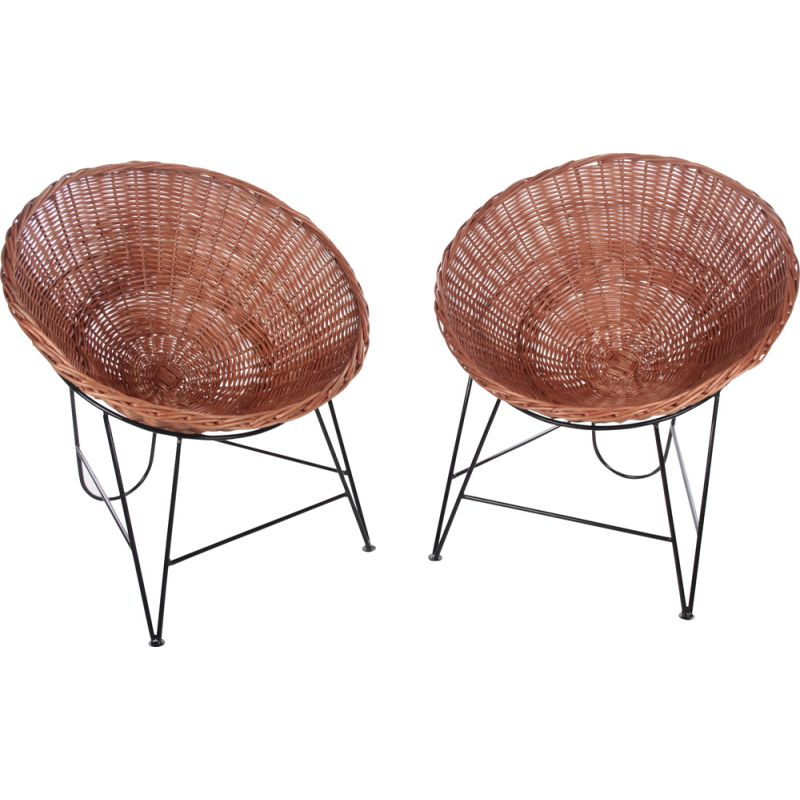 Pair of vintage wicker armchairs by Mathieu Matégot, France 1950s