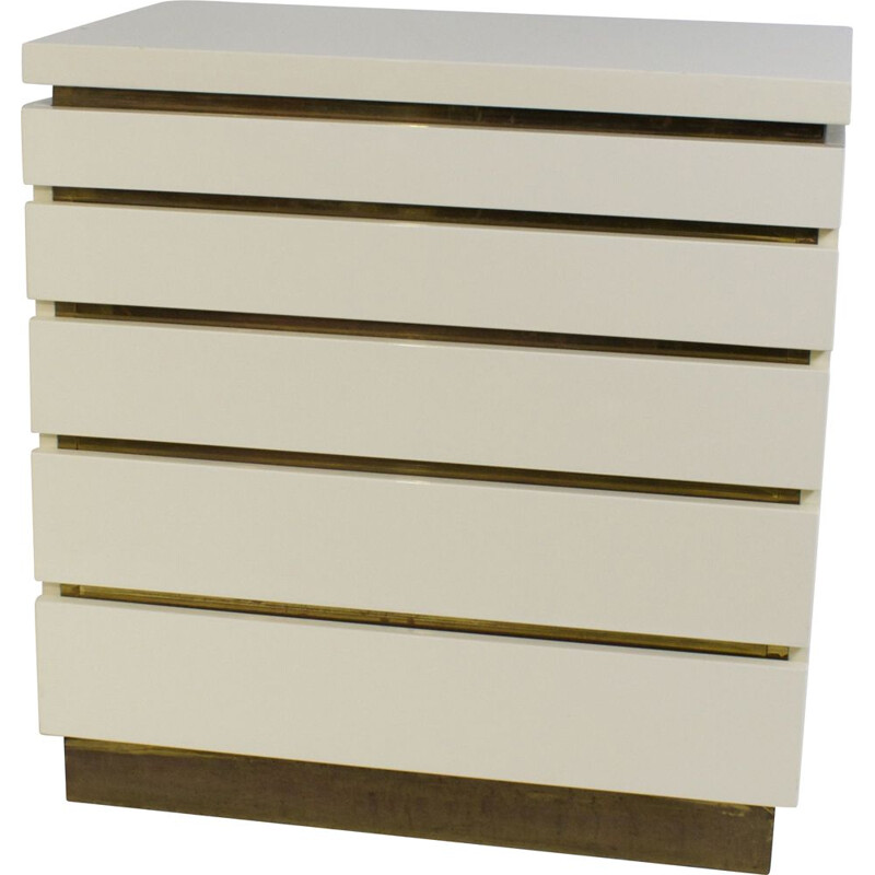 Vintage cream lacquered chest of drawers by Jean Claude Mahey, 1970