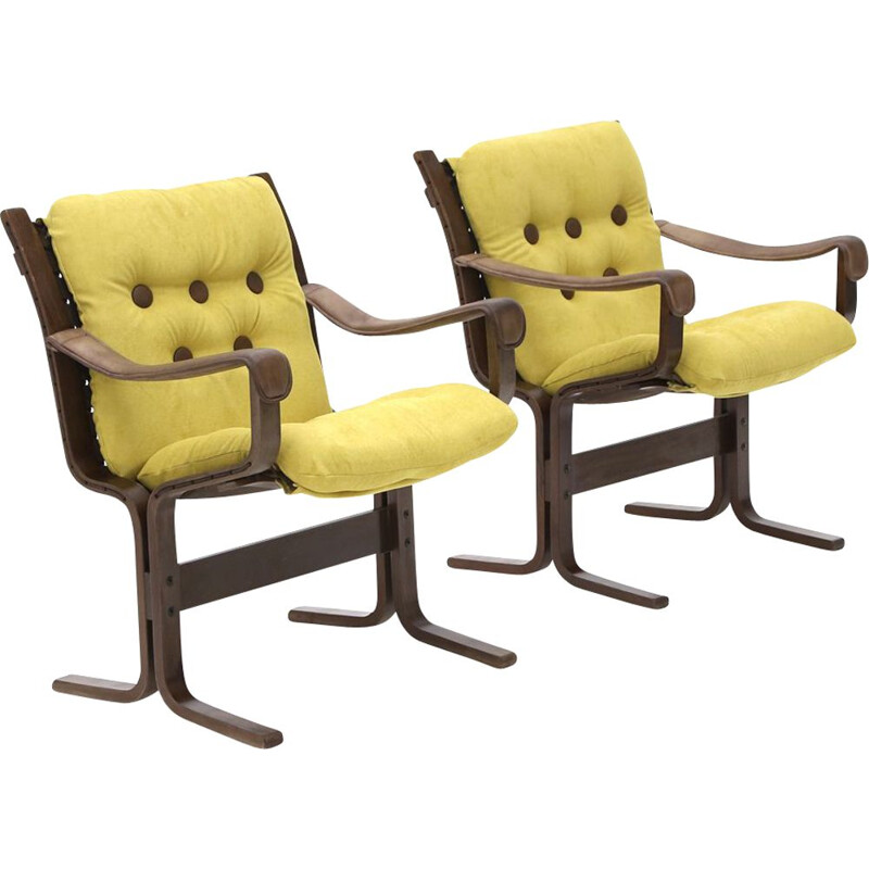 Pair of vintage armchairs with leather arms by Ingmar Relling for Westnofa, 1970