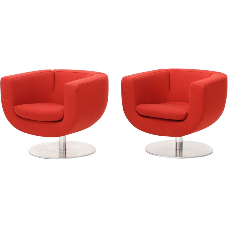 """Pair of vintage """"Tulip"""" armchairs in red fabric by Jeffrey Bernett for B&B Italia, 2000"""