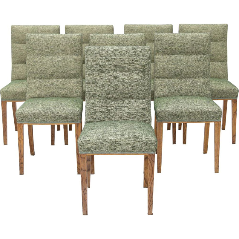 Set of 8 vintage solid oak chairs with upholstery, 1940