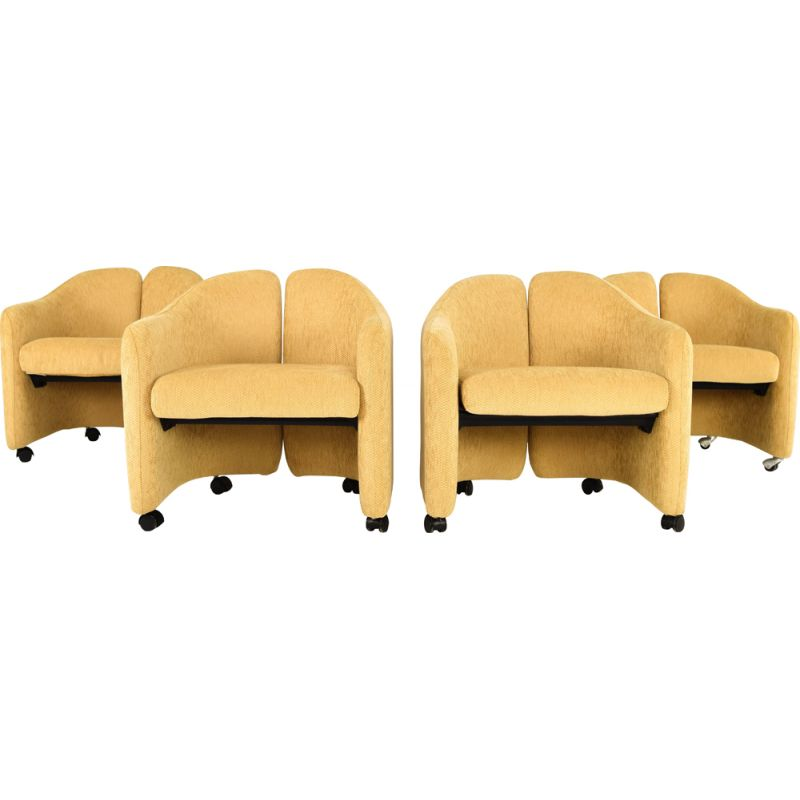 Set of 4 vintage armchairs PS 142 by Eugenio Gerli for Tecno