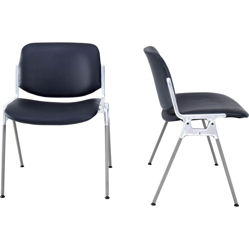 Pair of vintage DSC 106 stacking chairs by Giancarlo Piretti for Castelli, 1965