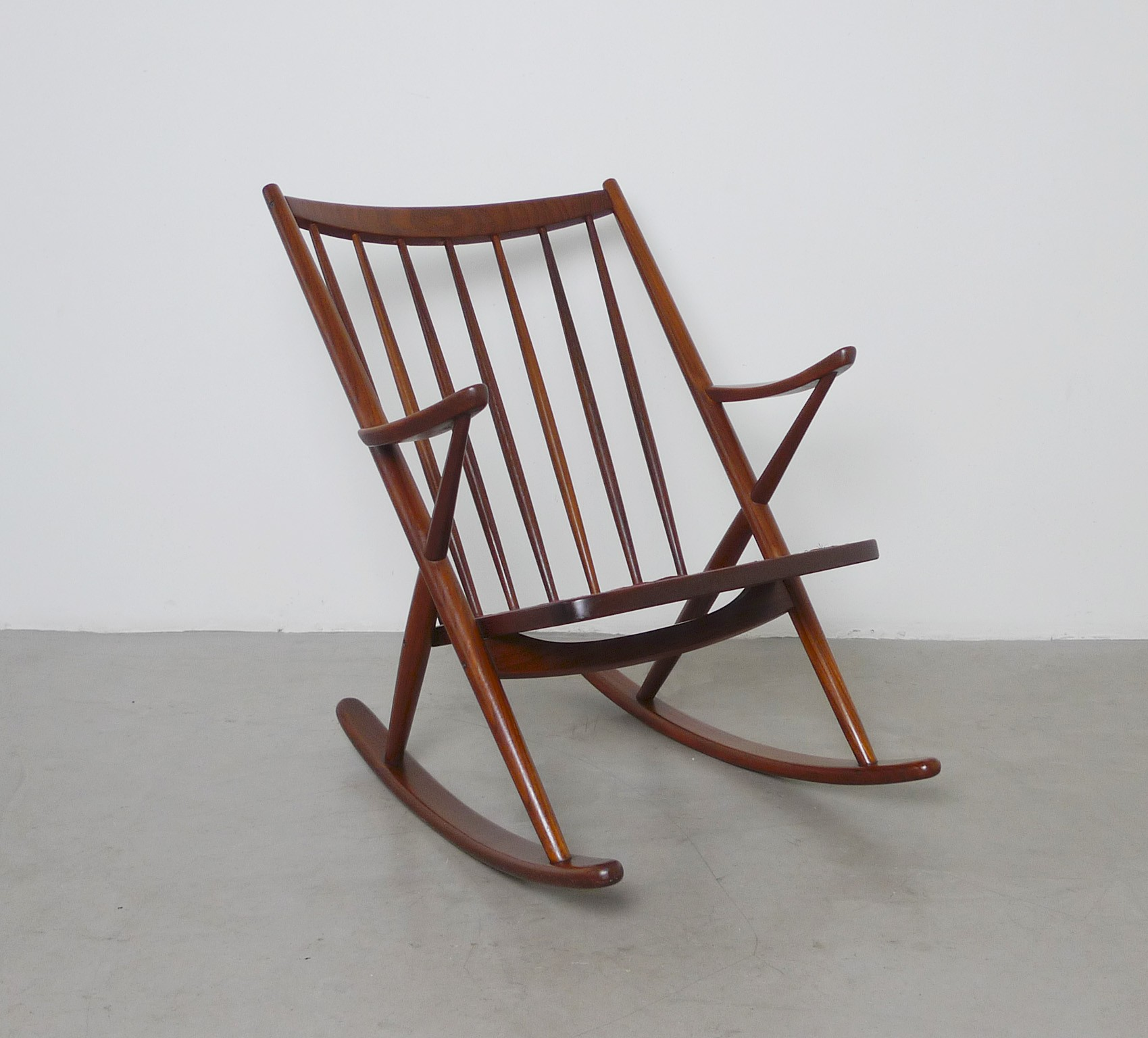Frank reenskaug rocking chair - Bramin Rocking Chair In Teak And Red Fabric Frank Reenskaug 1958 Previous Next