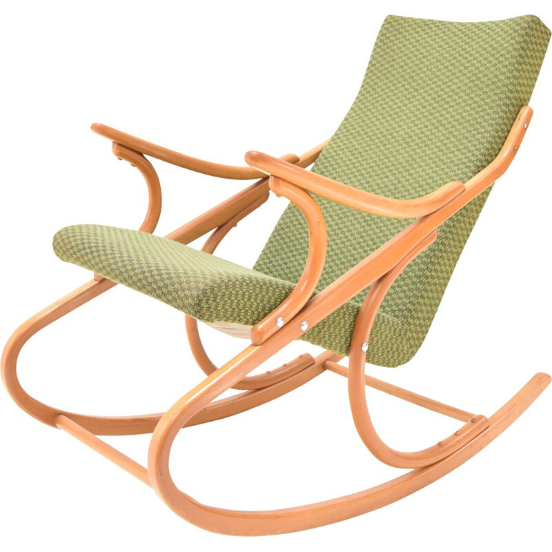 Fabric and wood vintage rocking chair by Ton, Czechoslovakia 1970s