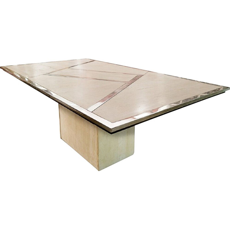 Vintage table in chrome and travertine