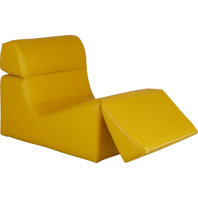 Vintage yellow vinyl lounge chair by Jean-Paul Barray, 1970