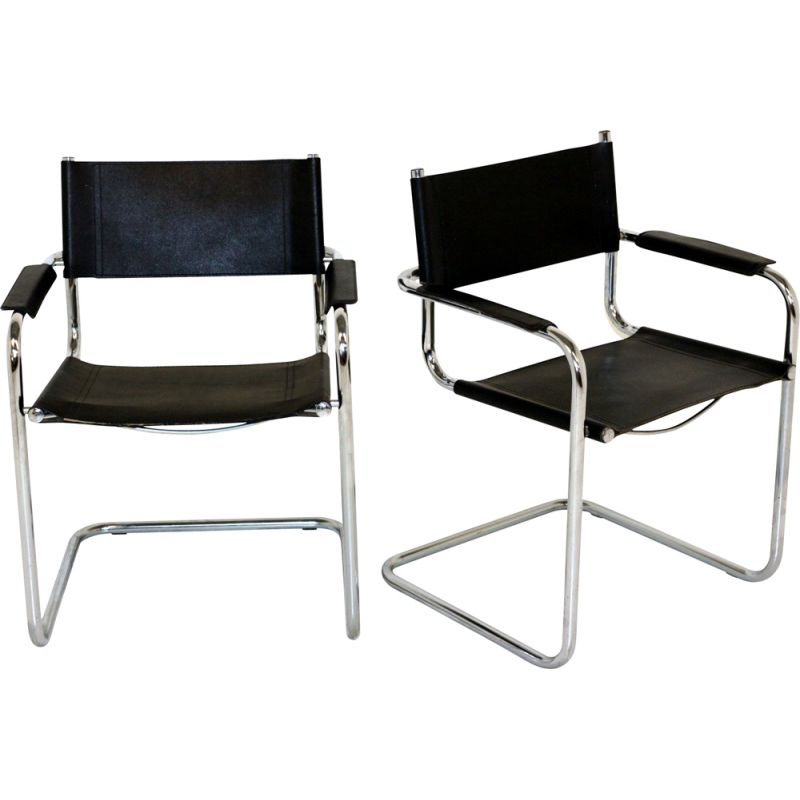 Pair of vintage leather and chrome tubular steel armchairs, 1990
