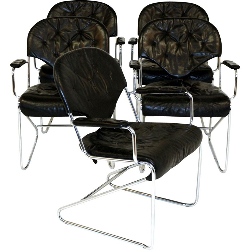 Set of 5 vintage armchairs by Sam Larsson for Dux, 1974