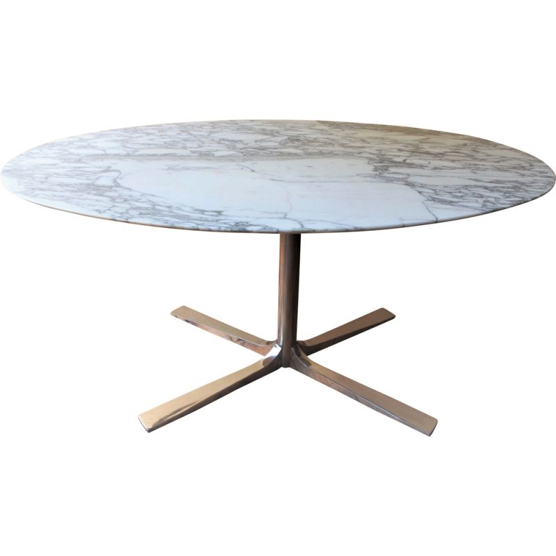 Vintage marble oval table by Roche Bobois, 1970