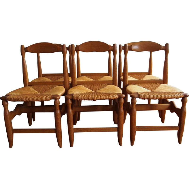 Set of 6 vintage solid oakwood and straw chairs by Guillerme et Chambron for Votre Maison