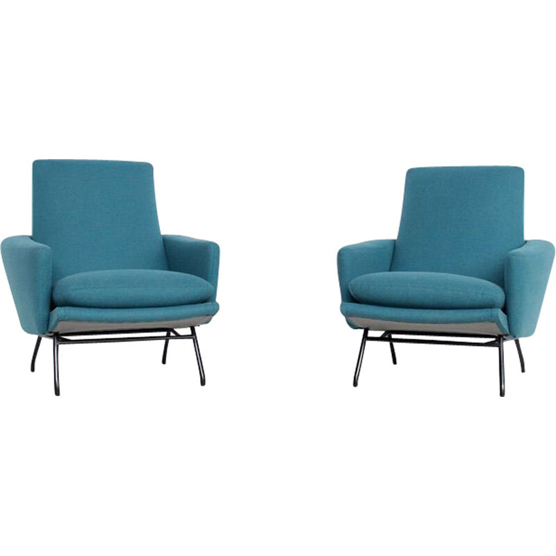 Pair of vintage blue armchairs by Pierre Guariche for Steiner, 1958