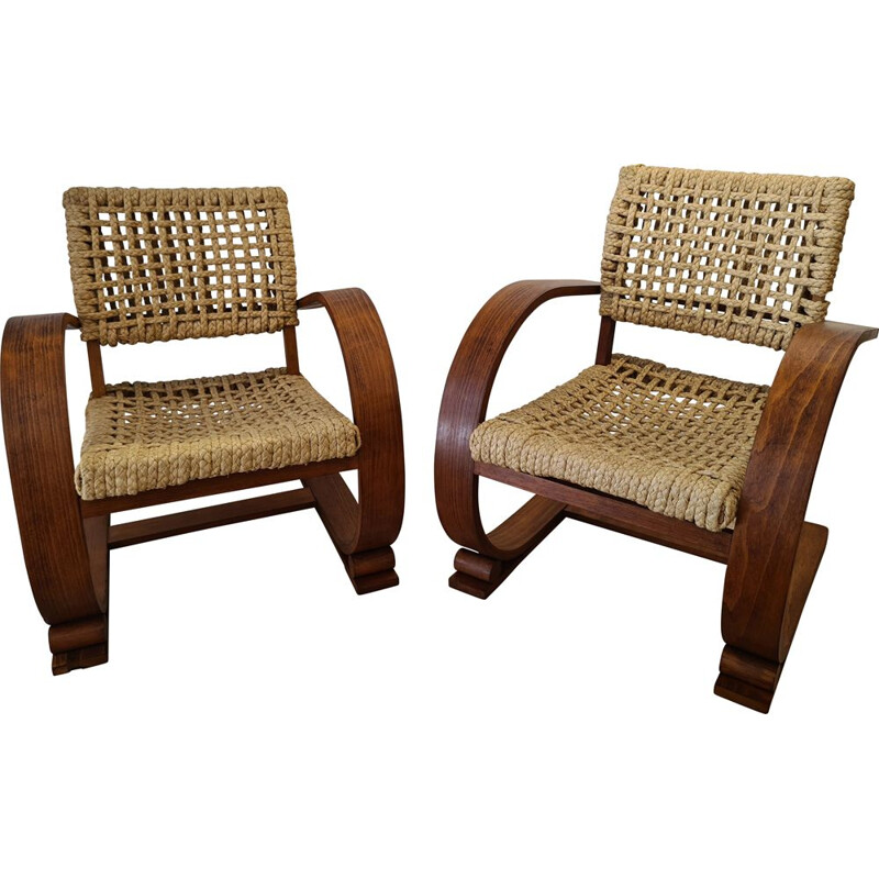 Pair of vintage rope armchairs by Adrien Audoux and Frida Minet