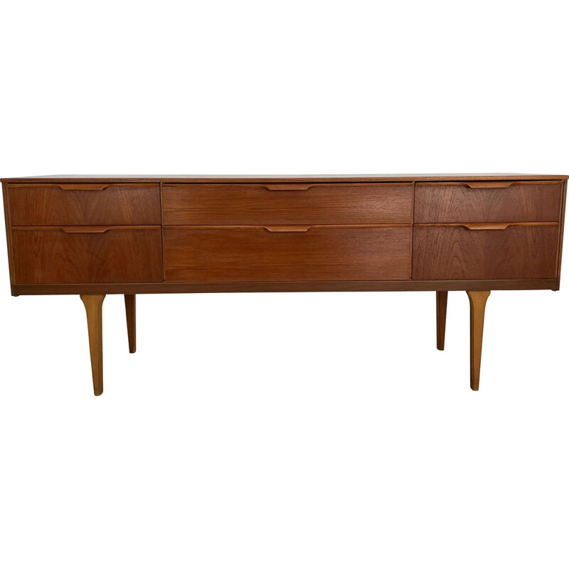 Mid century teak six drawers sideboard by Frank Guille for Austinsuite London, England 1960s