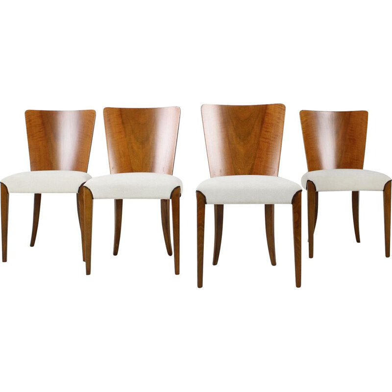 Set of 4 vintage wood and fabric dining chairs model H-214 by Jindřich Halabala, 1950s