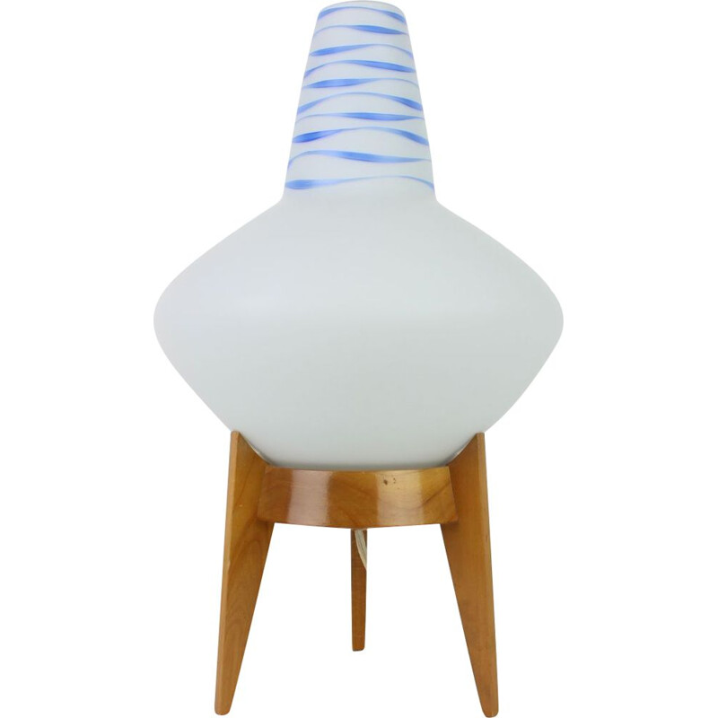 Mid-century wood and glass table lamp by Uluv, Czechoslovakia 1960s