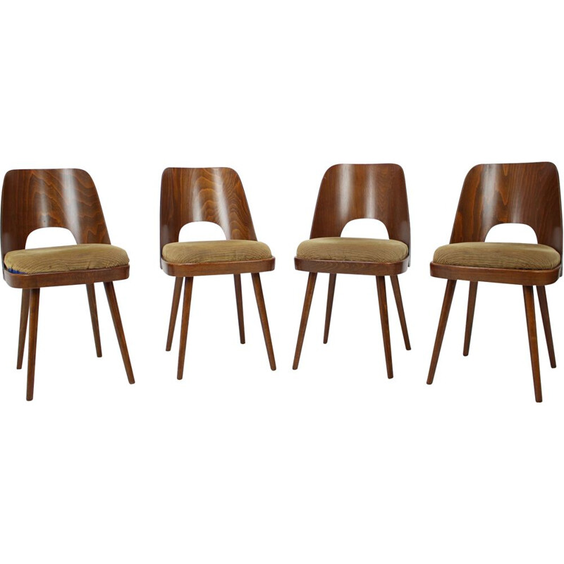 Set of 4 vintage wood and fabric dining chairs by Oswald Haerdtl, Czechoslovakia 1960s