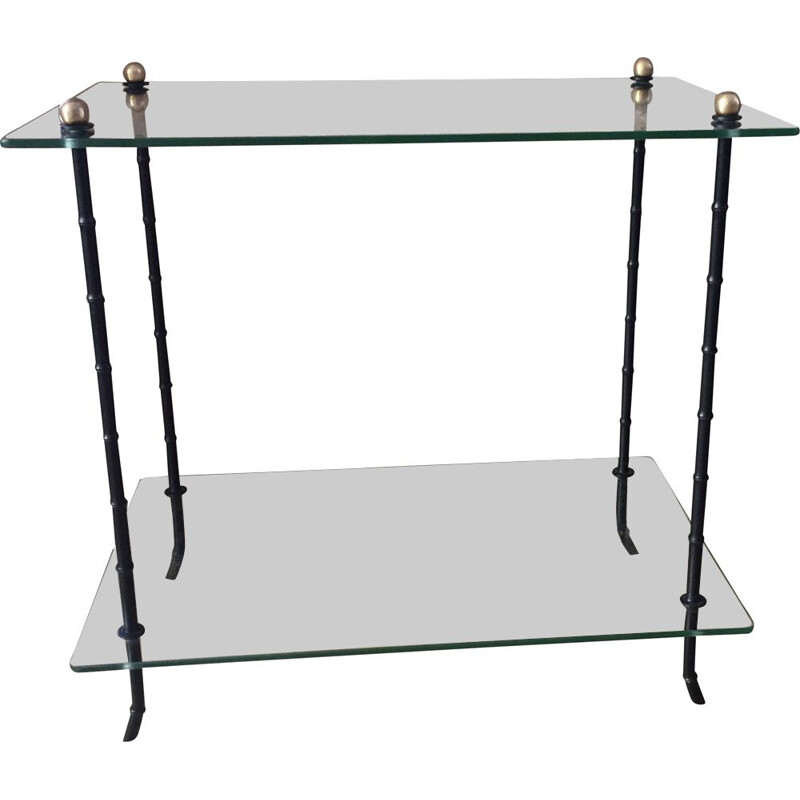 Vintage glass and blackened bronze side table