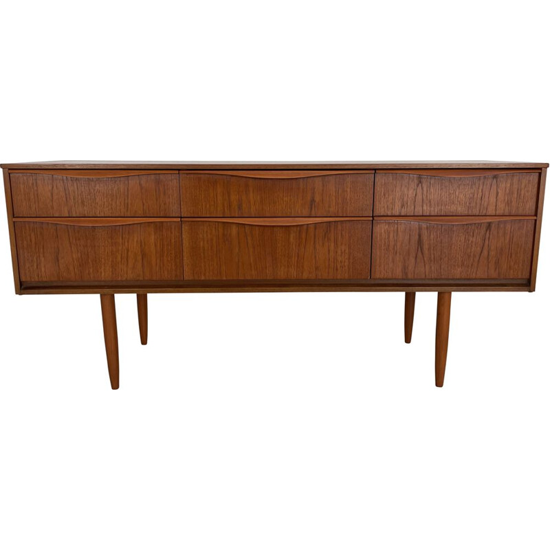 Vintage teak sideboard with six drawers by Frank Guille for Austinsuite London, England 1960s