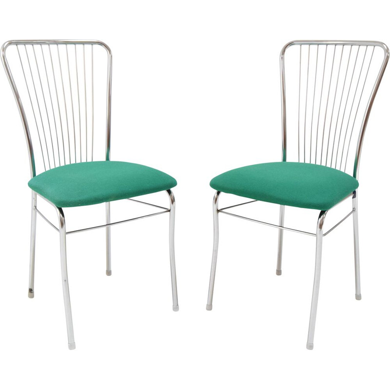 Pair of vintage chairs in chrome and fabric by Nowy Styl, Czechoslovakia 1980