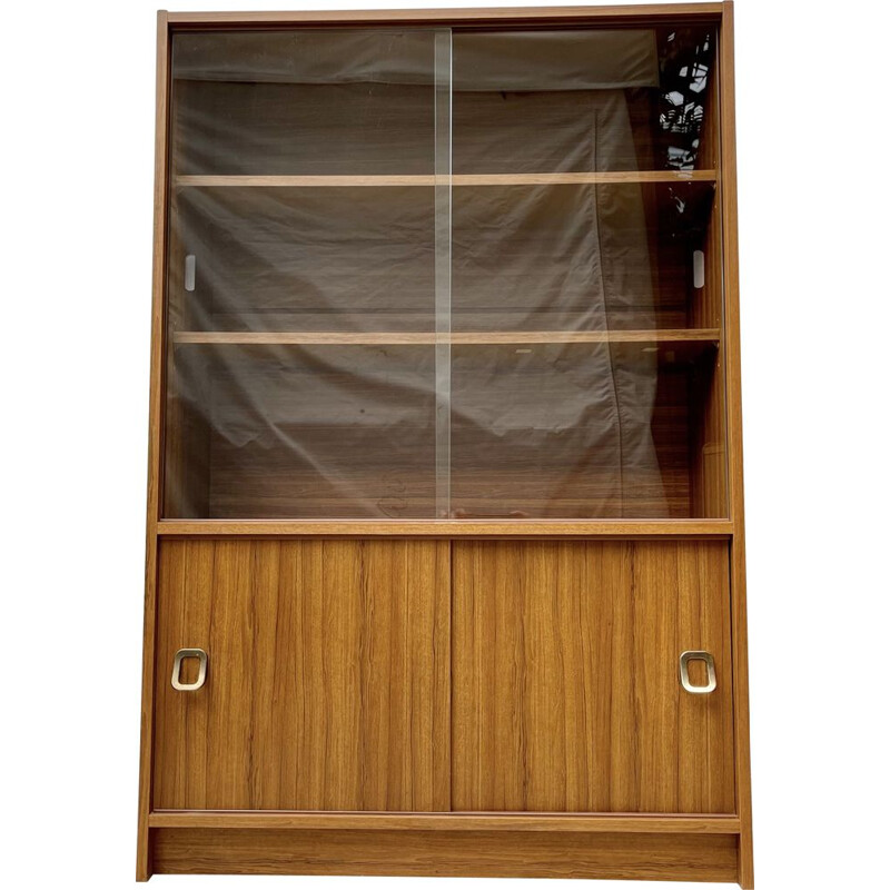 Vintage glass bookcase cupboard with sliding doors, 1970-1980