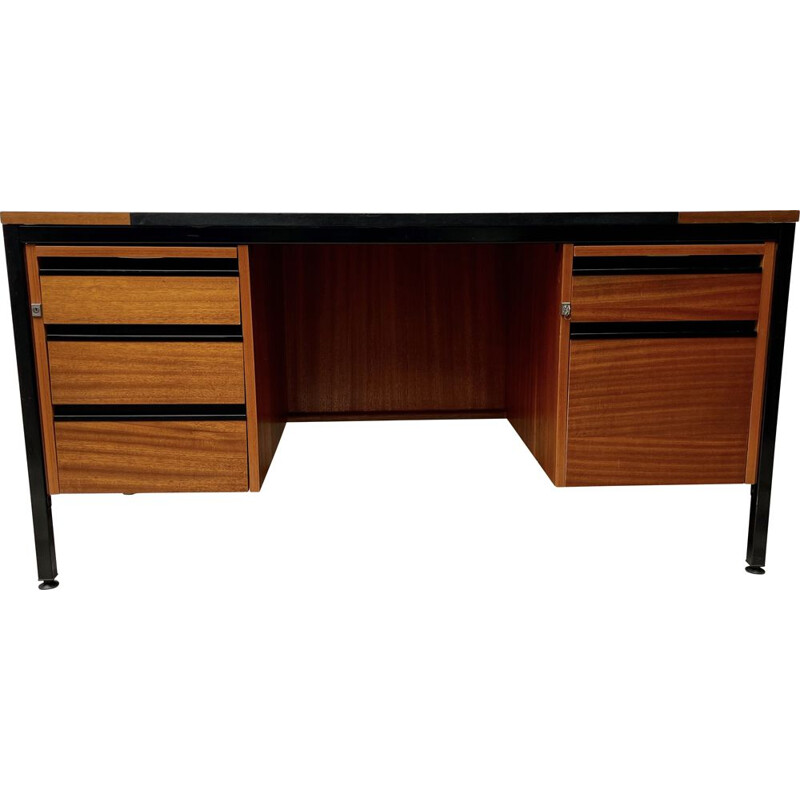 Vintage teak desk with 5 drawers by Abbess Linear, 1970s