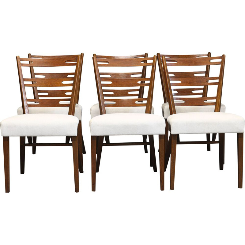 Set of 6 vintage teak and fabric dining chairs by Cesky nabytek, 1970s