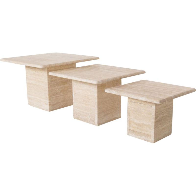 Set of 3 vintage travertine coffee tables, Italy 1970