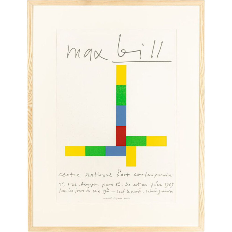 Exhibition vintage poster by Max Bill, 1969