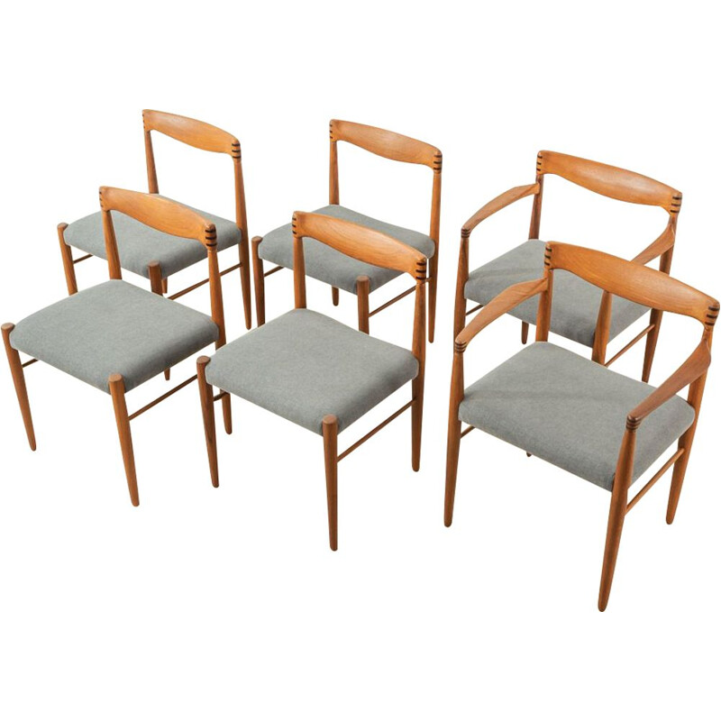 Set of 6 mid century teak and grey fabric dining chairs by H.W. Klein for Bramin, 1960s