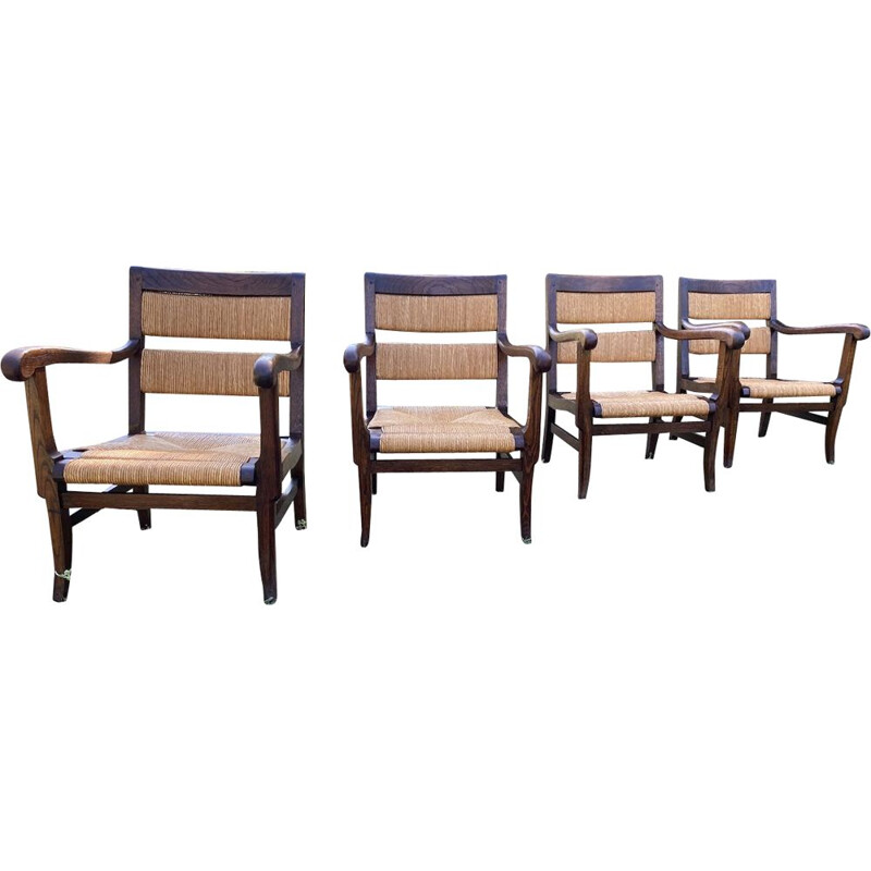 Set of 4 vintage Basque style straw armchairs, 1940
