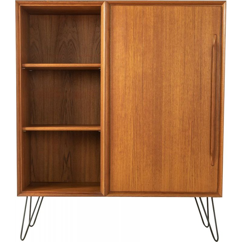 Mid century teak cabinet with one door and four shelves by Heinrich Riestenpatt, Germany 1960s