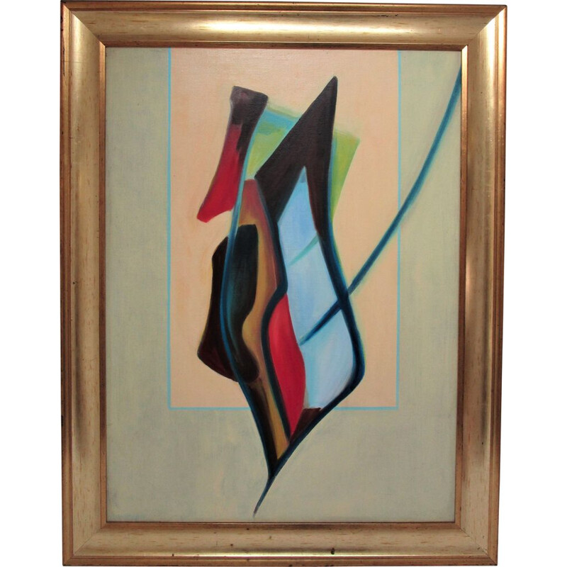 """Oil on canvas framed vintage """"Flowers in a vase"""" by Claude Roigt, 1980"""