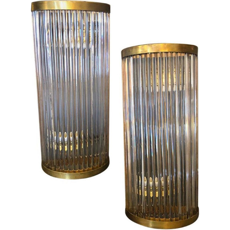 Mid-century modern brass and glass wall lamp, Italy 1970