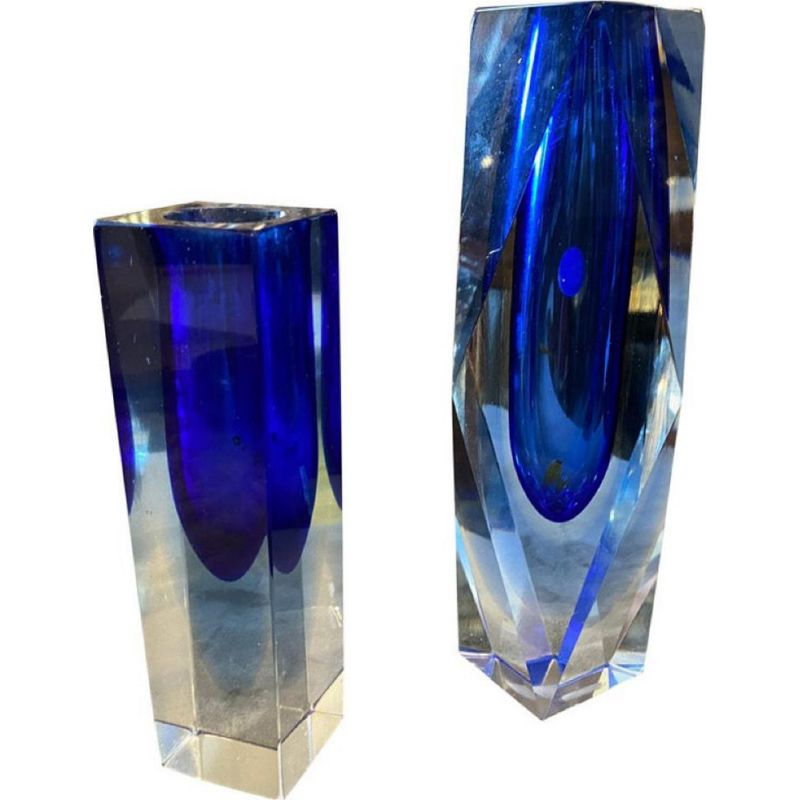 Pair of vintage modern blue Murano glass vases by Seguso, 1970s