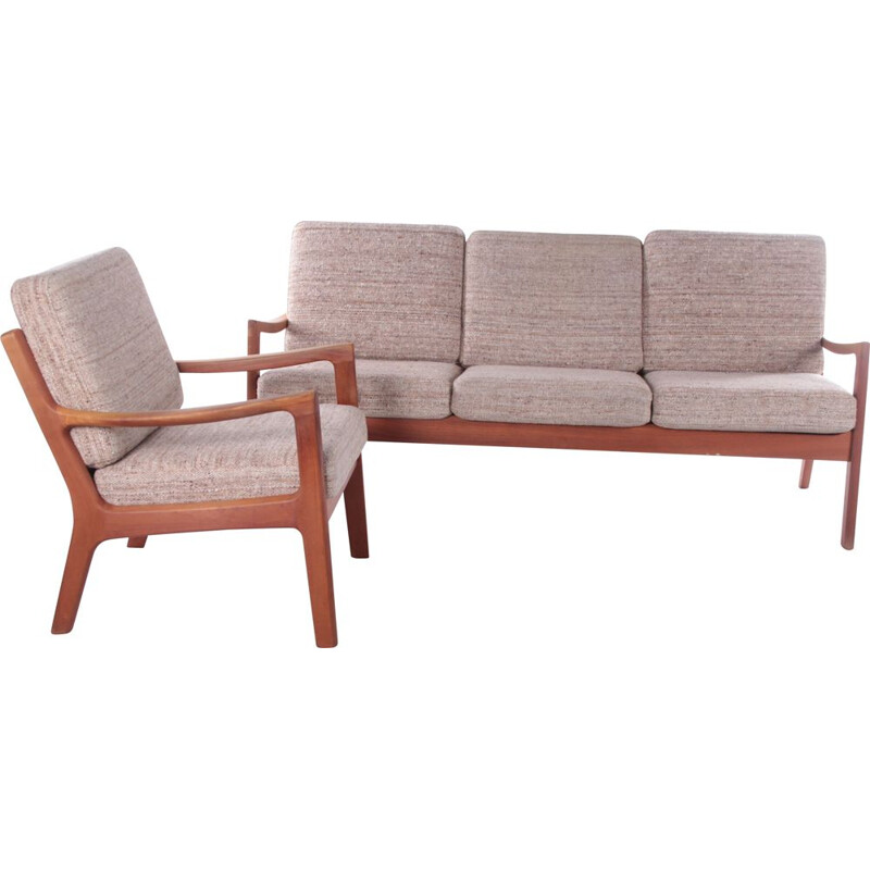 Vintage teak and fabric Boucle living room set by Ole Wanscher for PJ Furniture AS, 1960