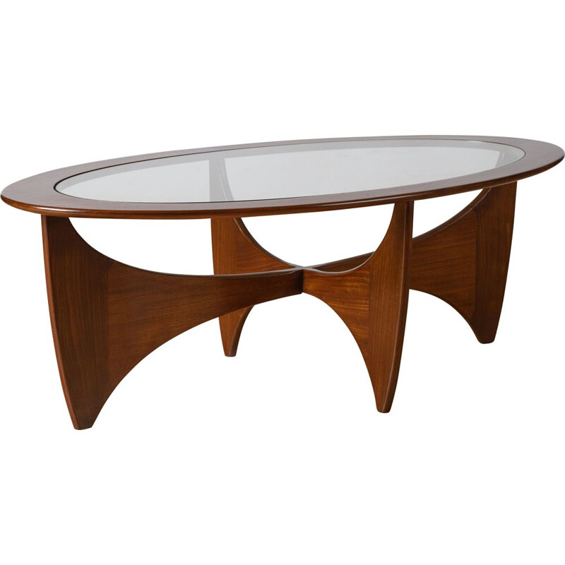 G Plan oval teak and glass vintage coffee table by V B Wilkes, 1969