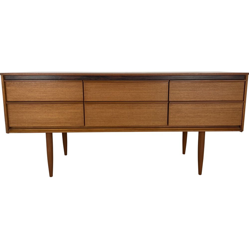 Vintage teak sideboard with 6 drawers by Frank Guille for Austinsuite London, England 1960s