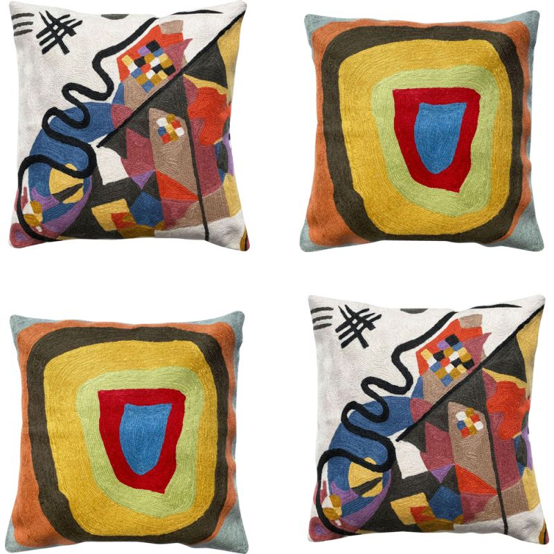Set of 4 multi-coloured vintage wool cushion covers with embroidered abstract motifs