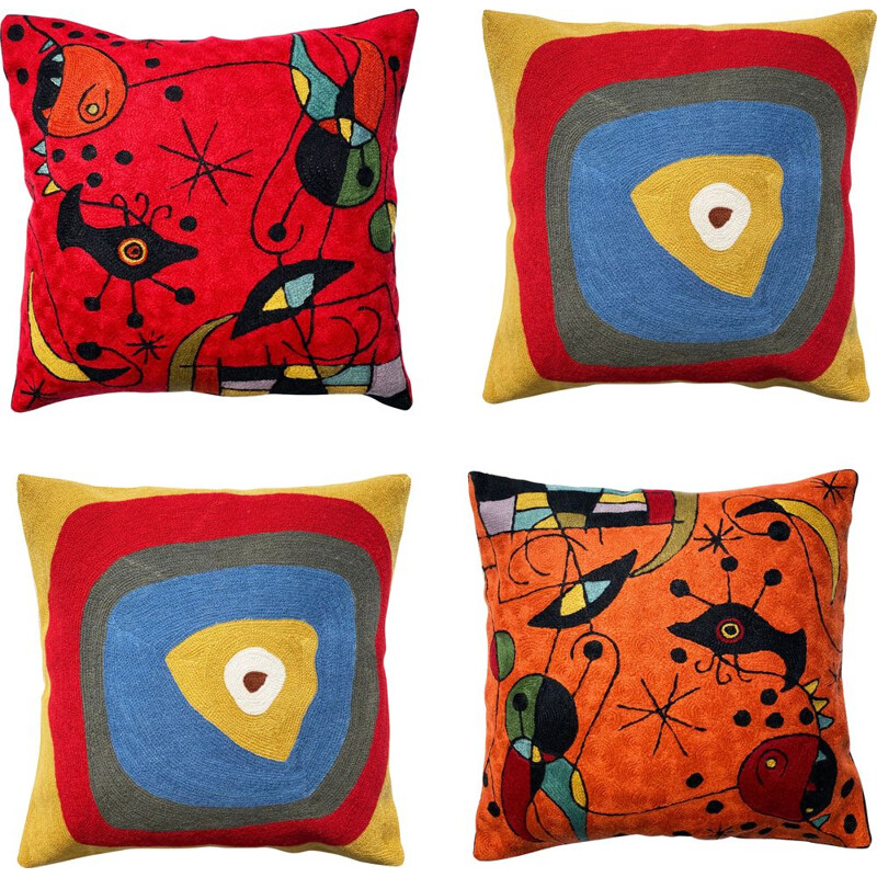 Set of 4 mid century multicoloured wool cushion covers with abstract embroidery