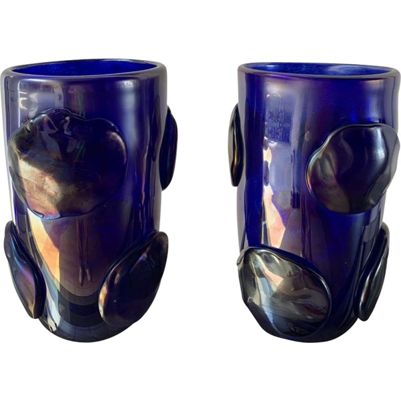 Pair of vintage blue vases with Murano glass pastilles by Costantini, 1990