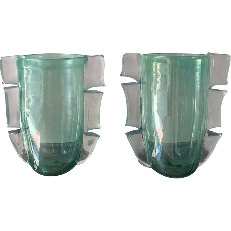 Pair of vintage green vases in Murano glass by Costantini, 1990