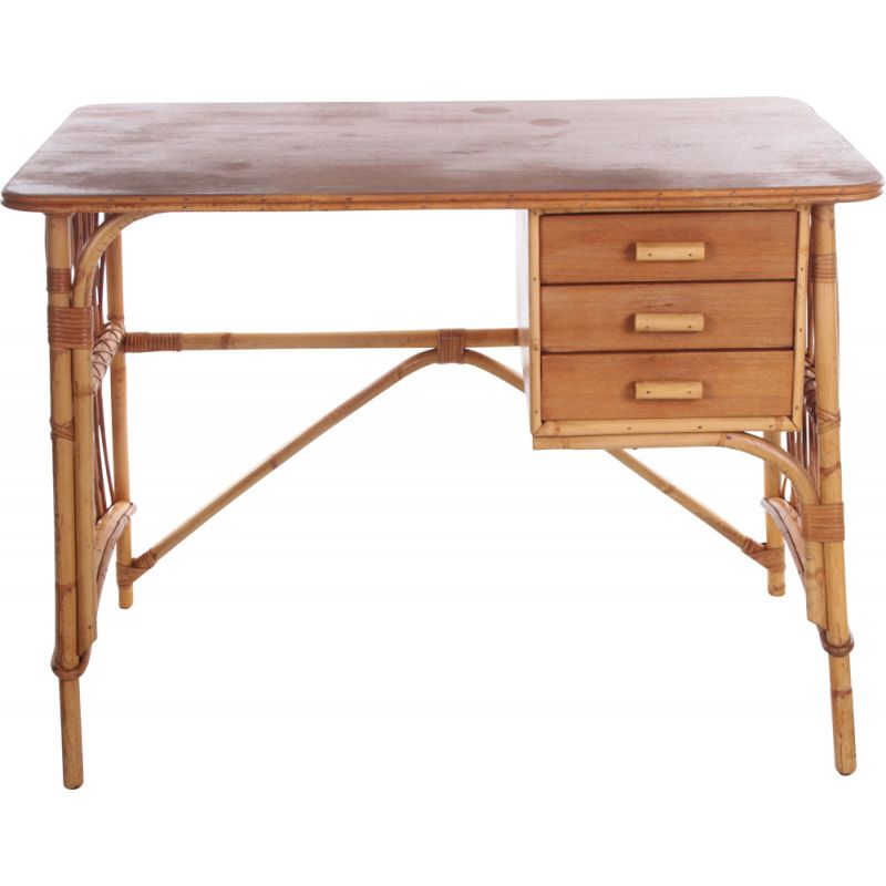 Vintage bamboo and rattan desk by Louis Sognot, France 1950